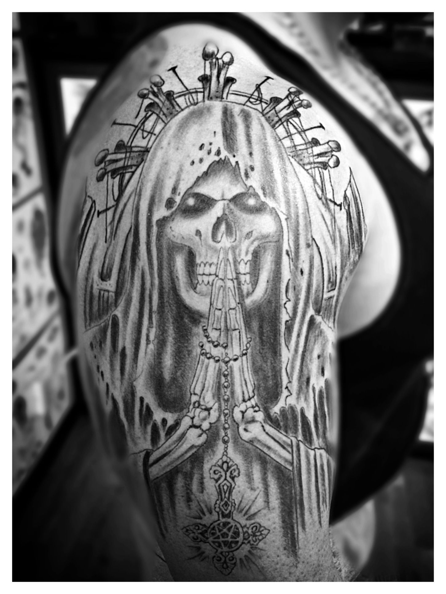santa muerte tattoo by spirits in the flesh tattoo studio. Black Bedroom Furniture Sets. Home Design Ideas