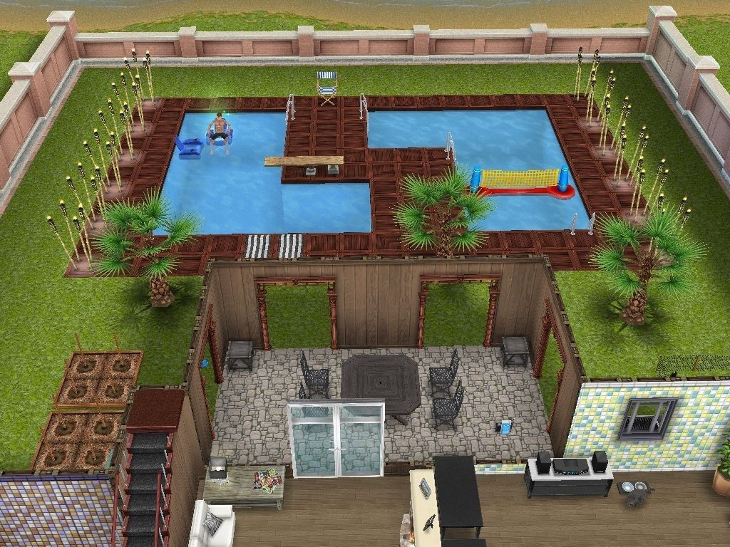 Sims freeplay cool pool layout sims free play sims for Pool design sims 4