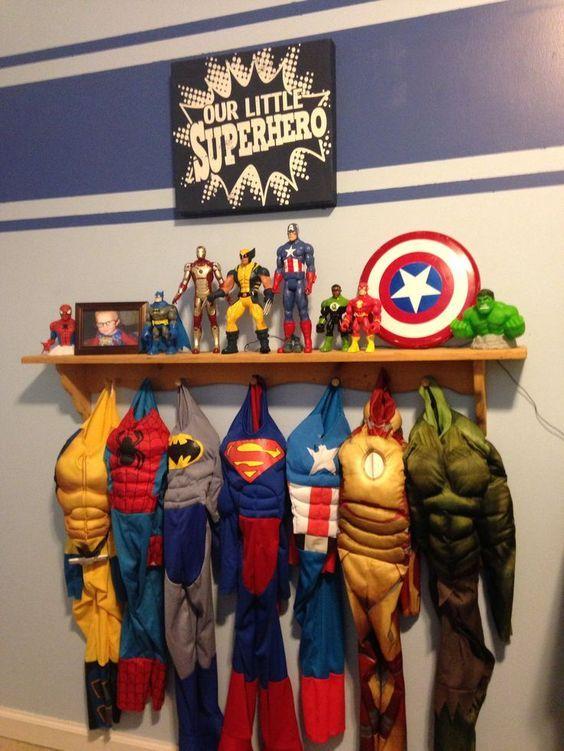 Toddler Boys Superhero Bedroom Ideas super hero wall ideas for kids | coat rack shelf, wooden coat rack