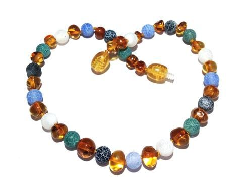 Child Apollo Polished Honey Baltic Amber Blue Green Turquoise Howlite Necklace