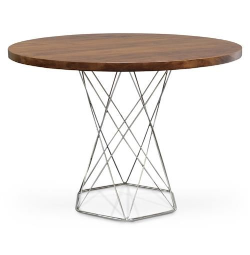 Industrial Modern Dining Room Table: Palecek Pedestal Industrial Modern Solid Wood Round Dining