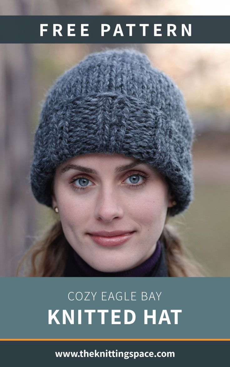 Cozy Eagle Bay Knitted Hat [FREE Knitting Pattern] Stay snug all winter by making this toasty and thick knitted hat that's guaranteed to keep you warm on your daily commutes. This easy knitting pattern is ideal for beginner knitters or for those who are looking for a quick weekend knitting project. |Discover over 3,500 free knitting patterns at
