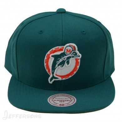 7b22ef5d2ebf9 Mitchell   Ness NFL Miami Dolphins Throwback Team Primary Color Snapback