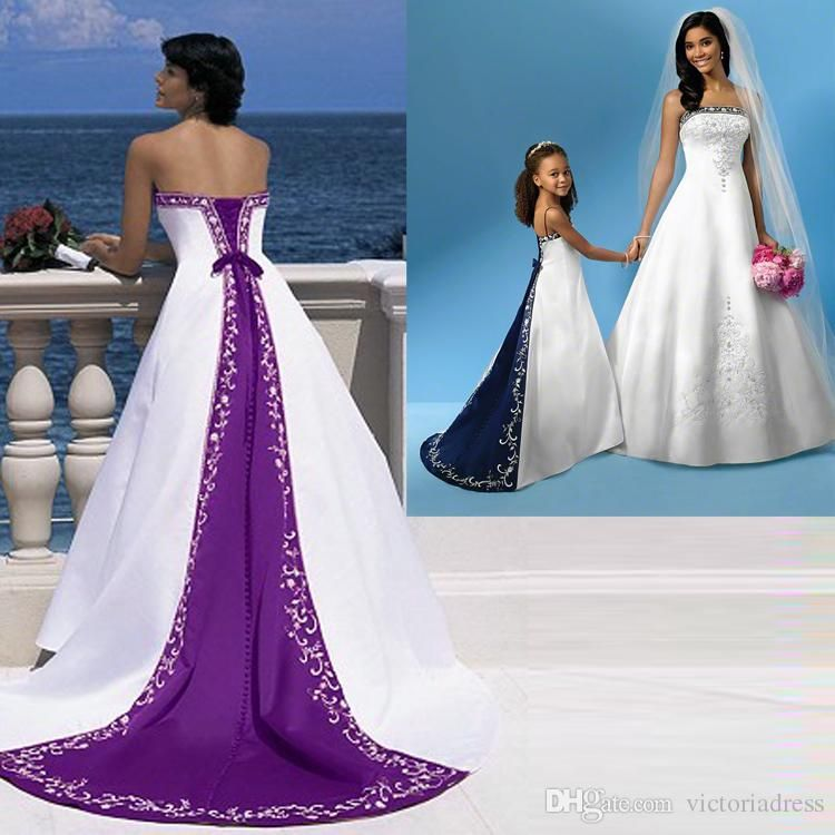 Excellent Quality Elegant Purple And White Wedding Dresses Strapless ...
