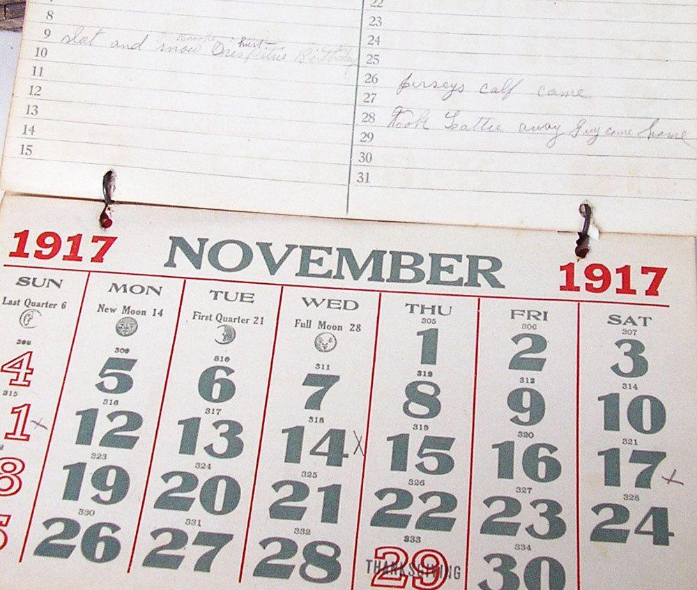 Calendar 1917-1920, Antique Paper, Collectible, Mixed Media Art ...