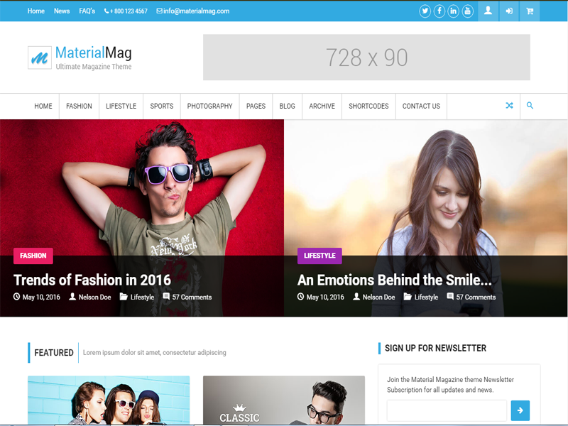 materialmag is a newspaper free html template for magazine pages
