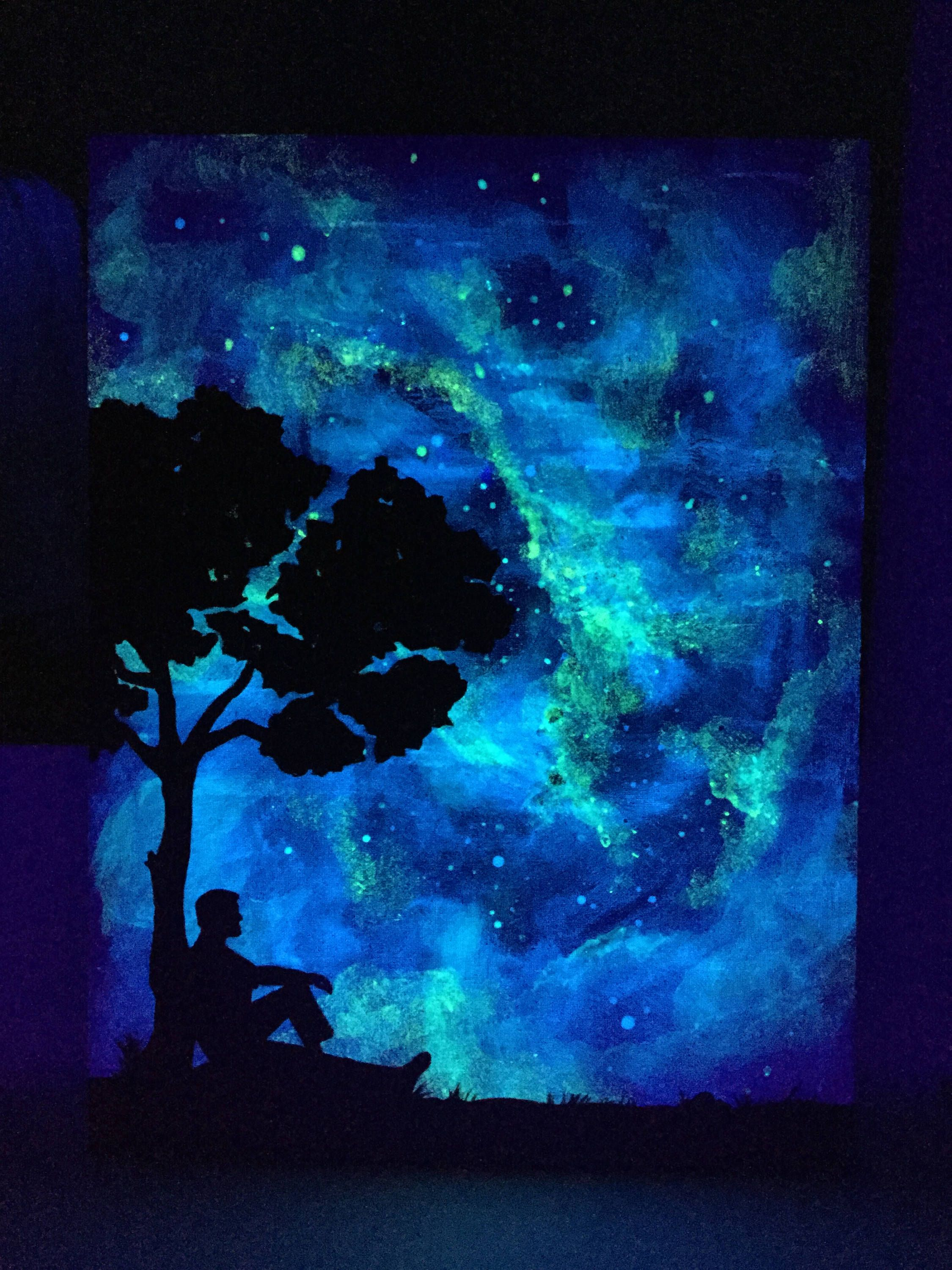 Glow Art Pensive Silhouette Under The Stars Glow In The Dark Tree Painting Cloudy Sky Changes To A Galaxy Backdrop For This Resting Man In 2021 Glowing Art Dark Art Paintings