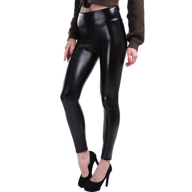 c40f6a941f Plus Size Leggings Women High Waist Stretch Slim Black Legging PU Leather  Pants Faux Leather Leggings