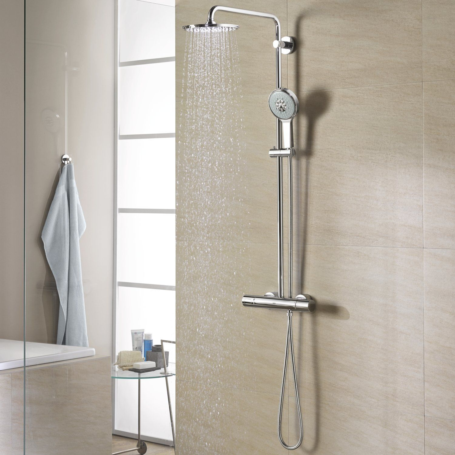 grohe 27968000 rainshower 310 shower system with thermostat baumarkt house build