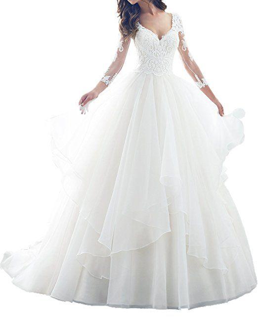Milano Bride Romantisch Spitze langarm Hochzeitskleider Brautkleider ...