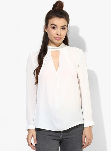 38dc9a2582d9 Buy TOPSHOP White Solid Blouse for Women Online India, Best Prices, Reviews  | TO201WA82MEBINDFAS