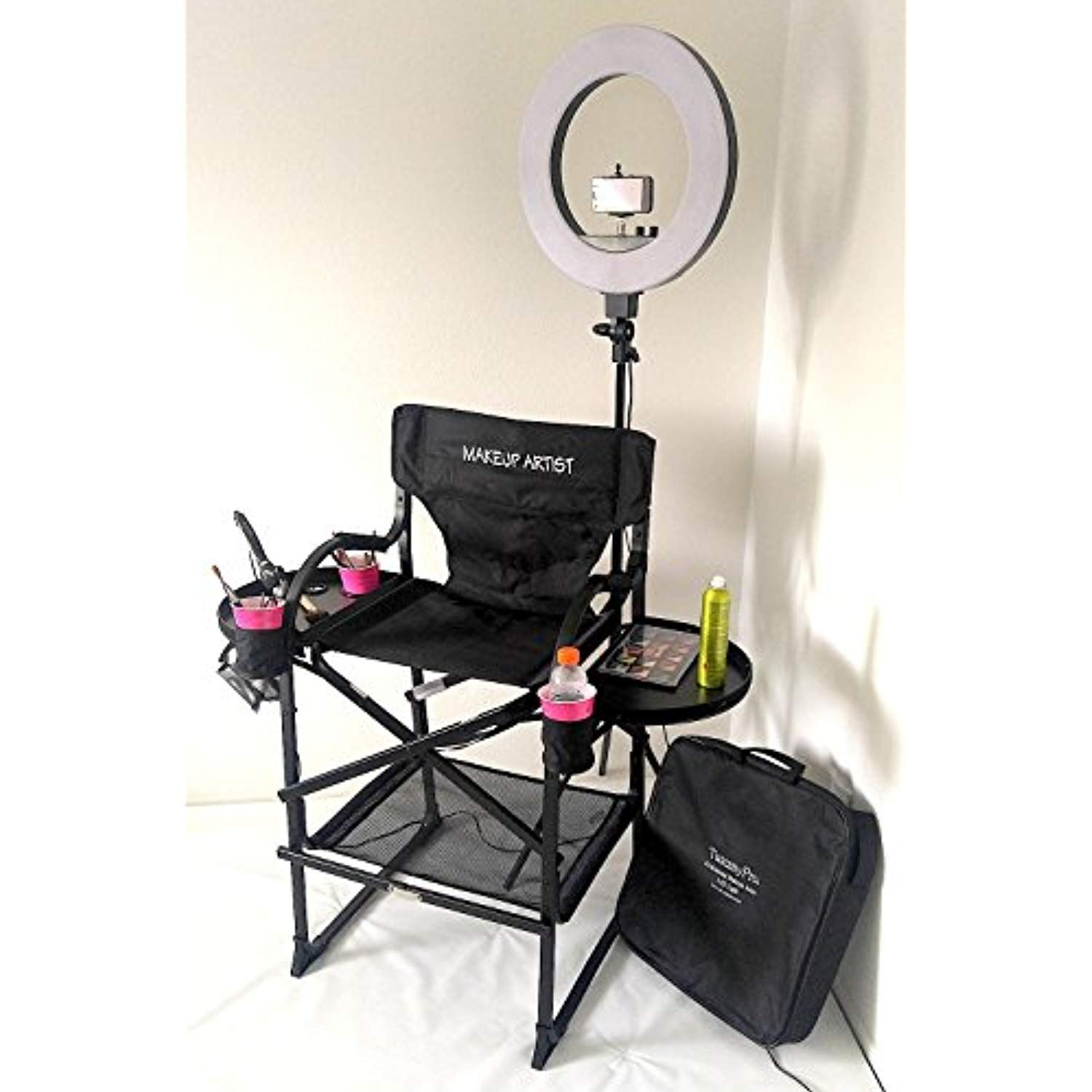 Unique Tuscanypro Folding Compact Makeup Artist Chair 29 Seat Height W 18a Led Ring Light Chair Carry Bag Makeup Artist Chair Makeup Chair Makeup Artist