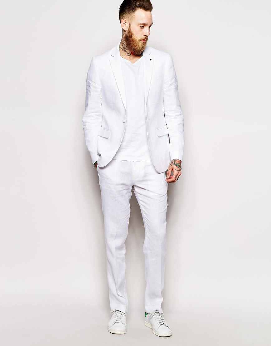 91be9582bfc6c6 ASOS Slim Fit Suit In 100% Linen White at ASOS | Operation PR in ...