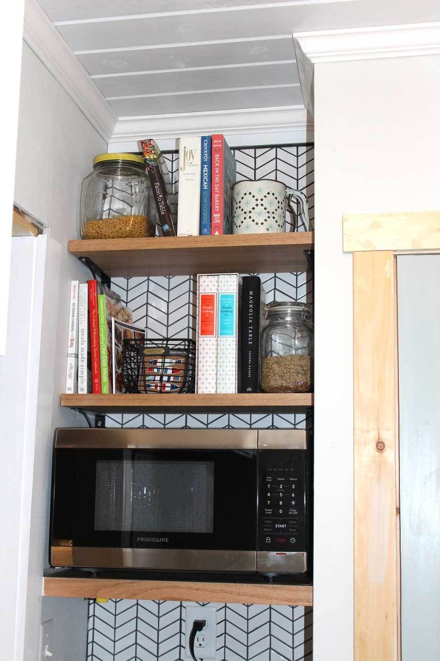 Modern Farmhouse Microwave Shelf For Kitchen And Pantry Area Microwave Shelf Open Kitchen Shelves Black Kitchens