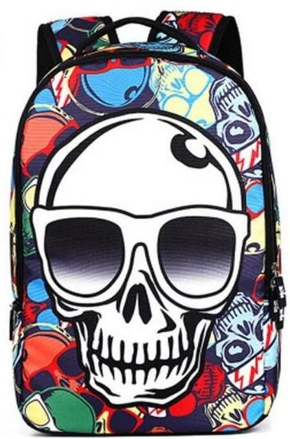 f28690b3c3b8 Men Cool Skull WIth Hat King Backpack