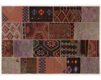 SALE 5,2x7,5 ft (160x230 cm) Kilim Patchwork rug, Bohemian rug, Decorative rug, Area rug, Turkish Kilim, Art deco    110
