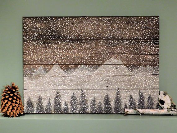"Barn Wood Wall Art handmade reclaimed barn wood wall art ""snow storm"" natural"