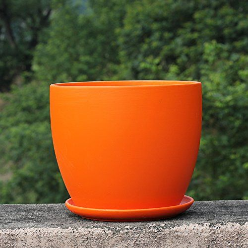 Pot Trays Gardening Amazon ceramic orange color home garden round flower planter amazon ceramic orange color home garden round flower planter pot with saucer workwithnaturefo