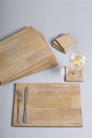 Set Of 4 Country Luxe Wooden Placemats And Coasters Wood Placemats Grey Placemats Placemats