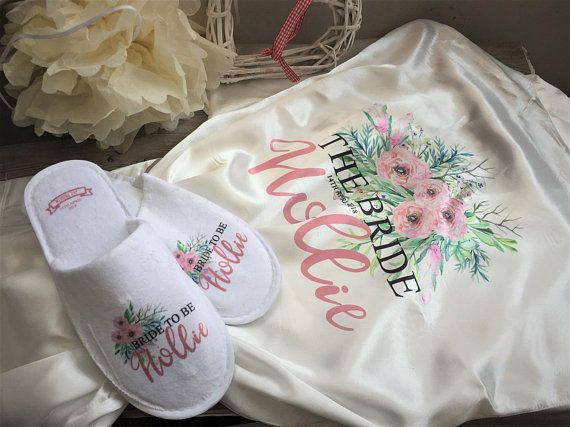 Personalised wedding robe & slipper set,personalized dressing gown ...