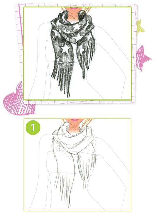 How To Draw A Funky Scarf Style Me Up Scarf Drawing Funky