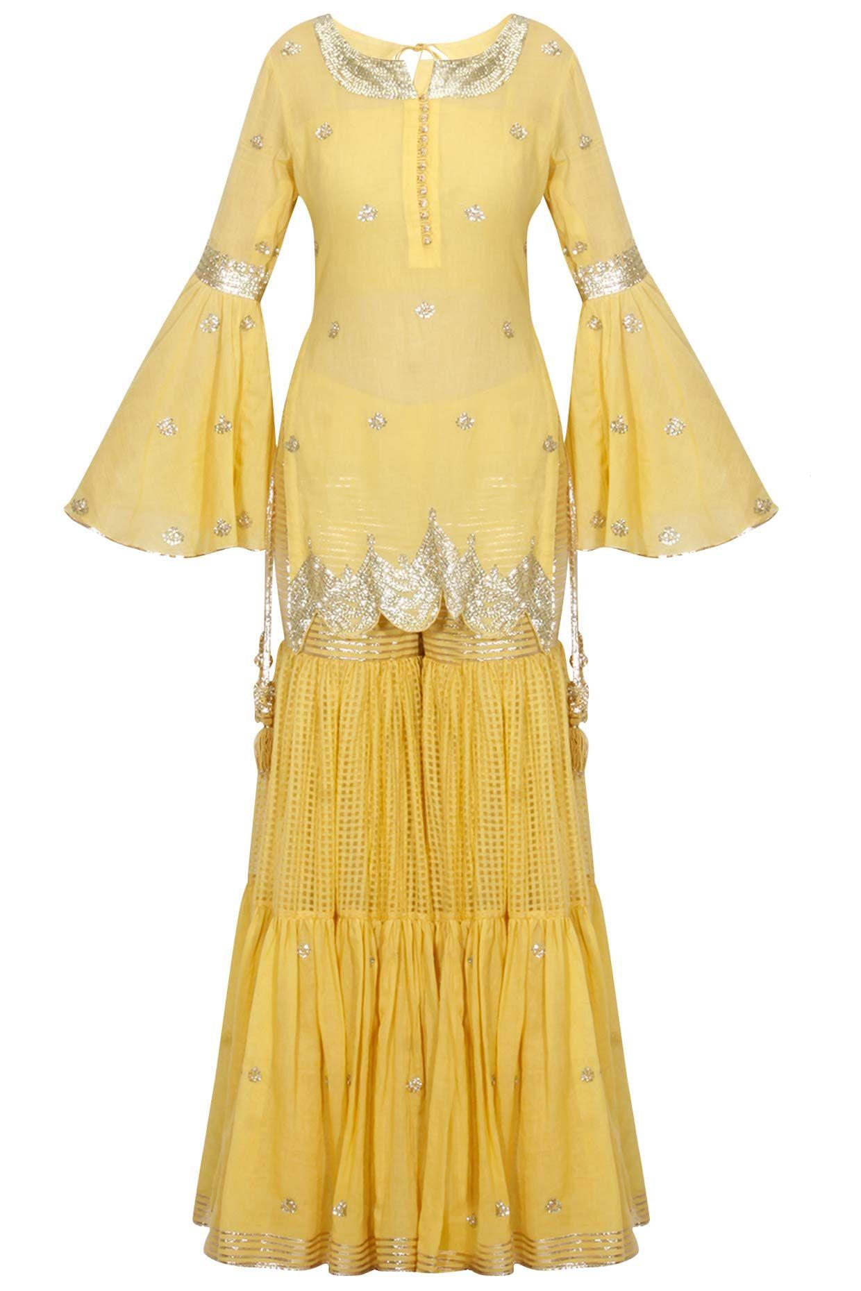 4fb723588 Mustard yellow and gold gota patti work kurta and sharara set available  only at Pernia's Pop Up Shop.