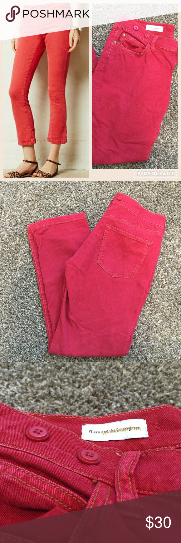 Red Pilcro Cropped Pants! ❤️ These fabulous red pants are an absolutely perfect piece to add to your wardrobe. They have a comfortable broken in look and feel so them. This pair is in excellent condition. There are no rips, stains, or tears that I can see. Feel free to ask any questions or make a reasonable offer! Anthropologie Pants Ankle & Cropped