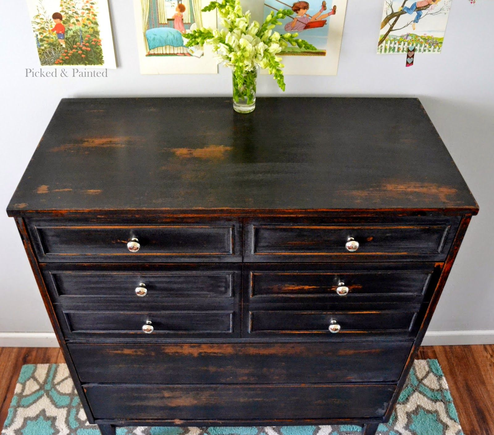 Painting furniture black distressed - Helen Nichole Designs Dresser In Pitch Black Milk Paint