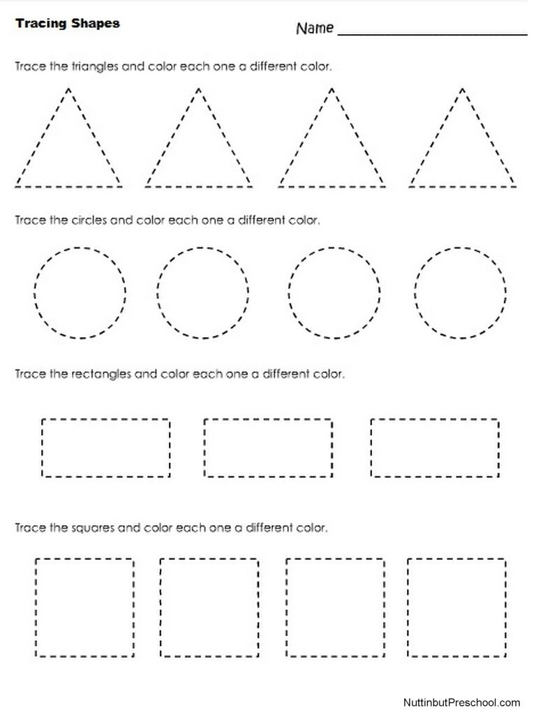 Tracing Shapes Worksheet Shape Worksheets For Preschool Tracing