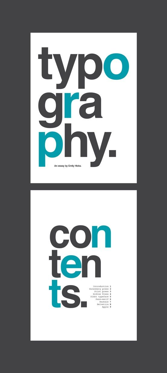 Typography essay front cover and contents page.   Design: Type ...