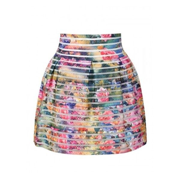 Multi Floral Sheer Stripe High Waist Bubble Skirt ($17) ❤ liked on Polyvore