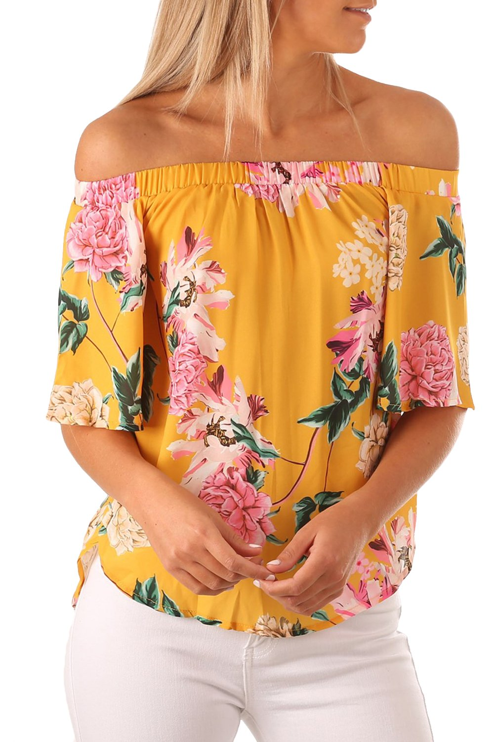 7741b5a1bc6e0 Yellow Floral Print Half Sleeve Off Shoulder Blouse in 2019 ...