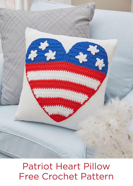 Patriot heart pillow free crochet pattern in red heart super saver patriot heart pillow free crochet pattern in red heart super saver yarn bankloansurffo Gallery