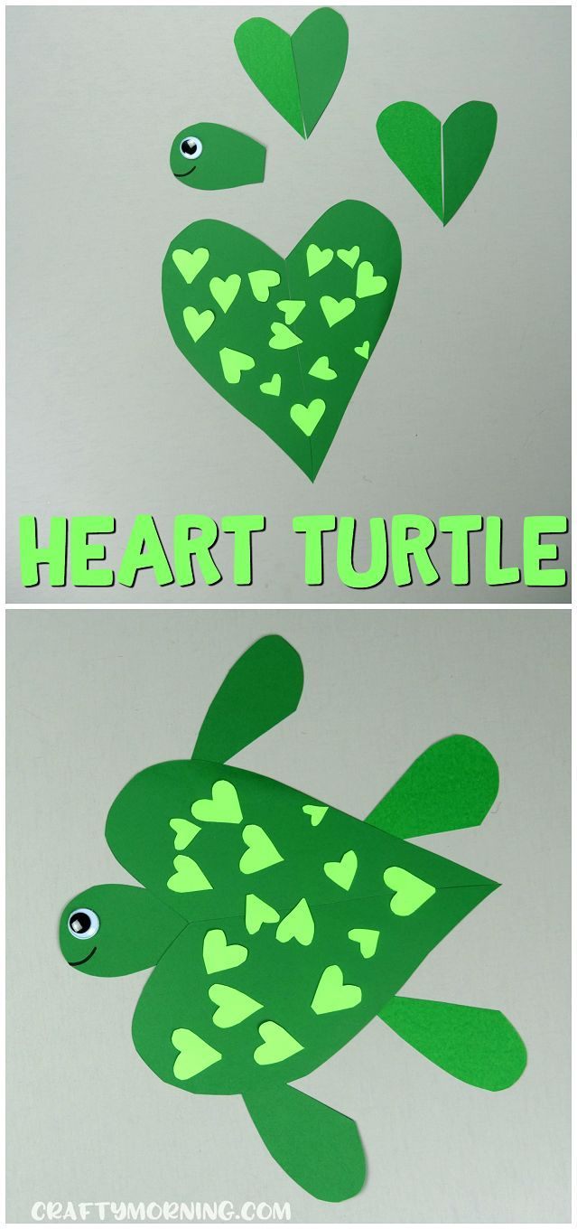 Make a heart shaped turtle craft with your kids for Valentine\'s Day ...