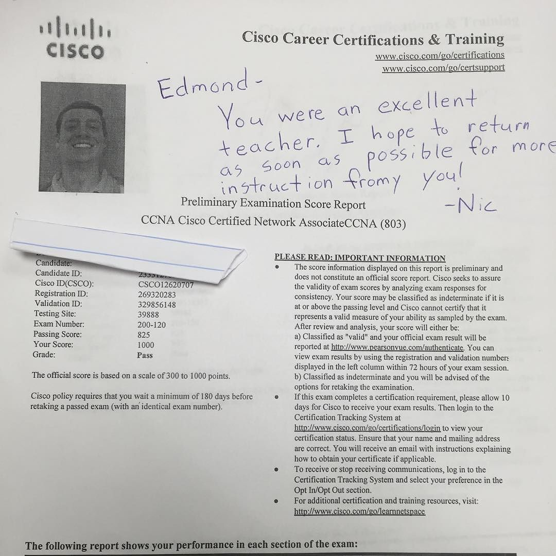 We Are Proud Of Our Student Who Has Passed Their Cisco Switch Exam