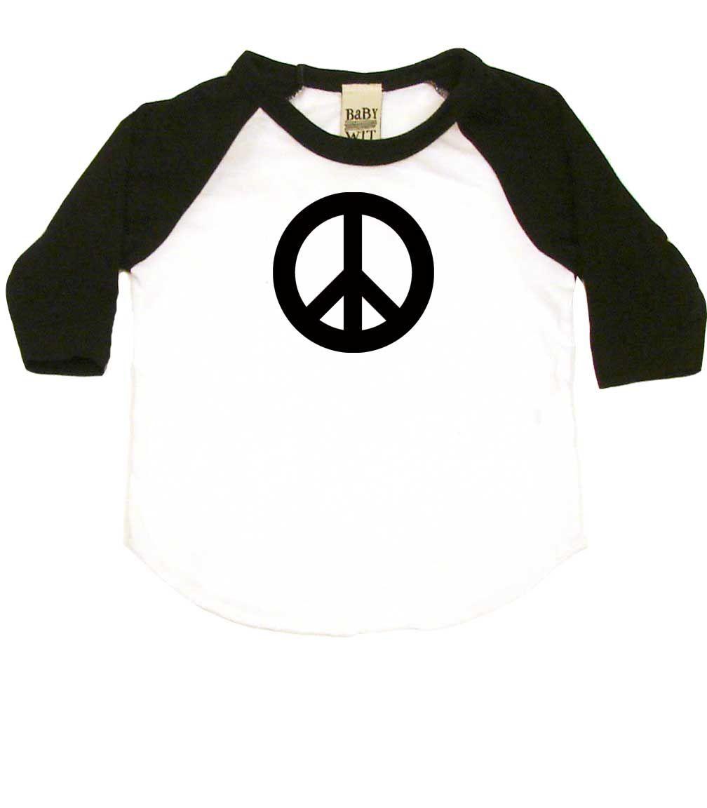d2dcfe98058 Peace Symbol Baby Shirt 3 4 Sleeve Raglan