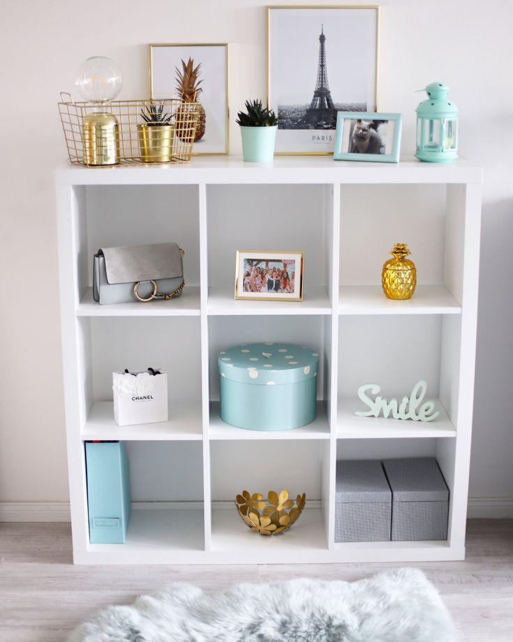 Photo of Ikea Kallax Regal Decoration Pastel Mint Gold Regal styles #ikeabedroomorganization