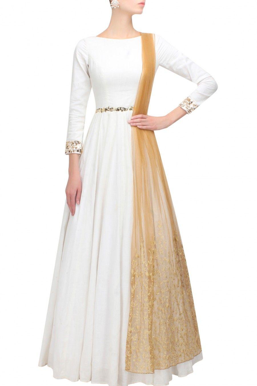Nikhil Thampi white and gold applique'd anarkali set