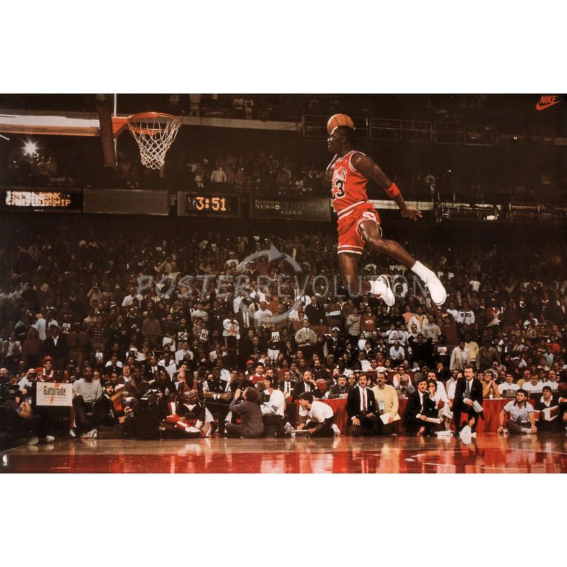 Michael jordan famous foul line dunk vintage sports poster print 35x23 5 life on the silent - Michael jordan bedroom decor ...