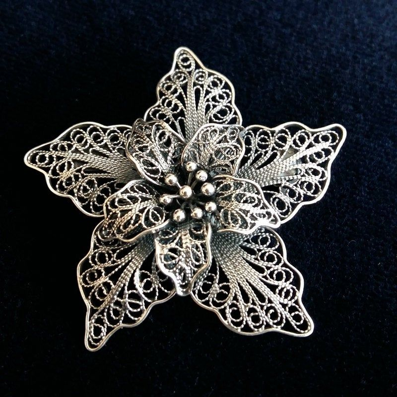 """""""Flower Brooch Flor de Amor - Sterling Silver Brooch - Filigree Brooch - Flower Jewelry - Handmade Jewelry - Gift for Mom - Gift for Her Filigree - delicate jewellery technique made from silver or golden threads \""""embroidering\"""" kind of metalwork lace that is specific to Spain, especially an Andalusian town Cordoba, where they call it a cordobese filigree. This craftsmanship has been passed from generation to generation, nonetheless nowadays there are very few craftsmen left who know to perform"""