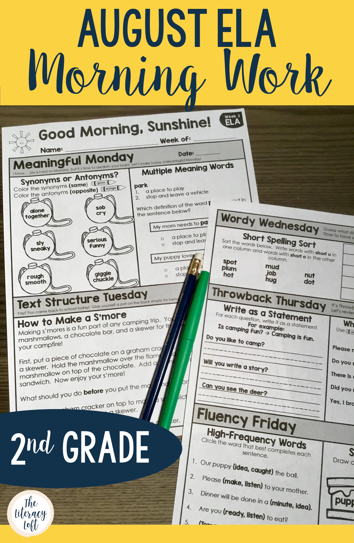 Ela Morning Work 2nd Grade Bundle