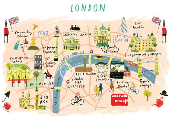 City Of London Map Uk.Illustrated A4 Map Of London London Map London