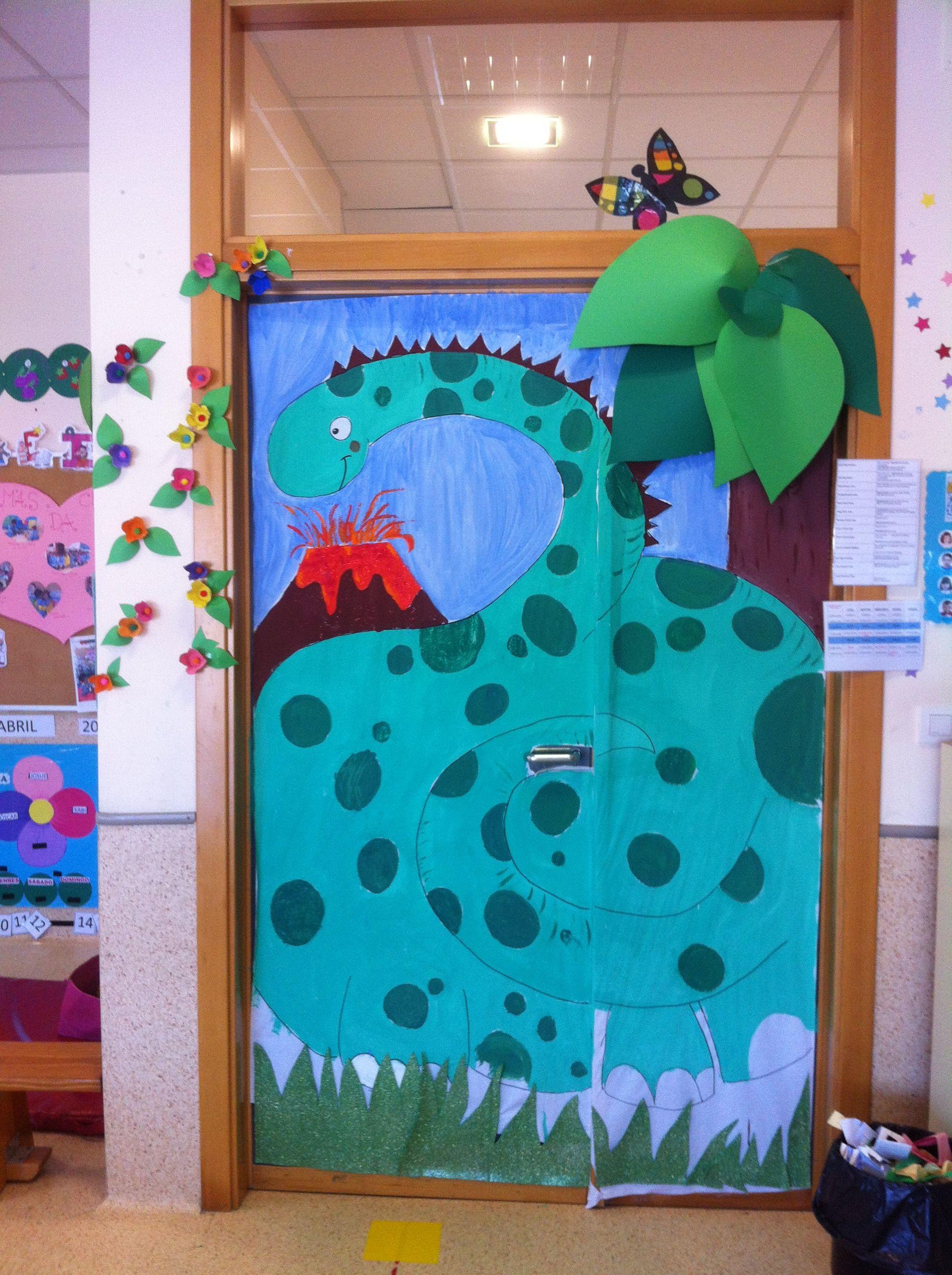 puerta dinosaurio boletines y puertas prehistoria