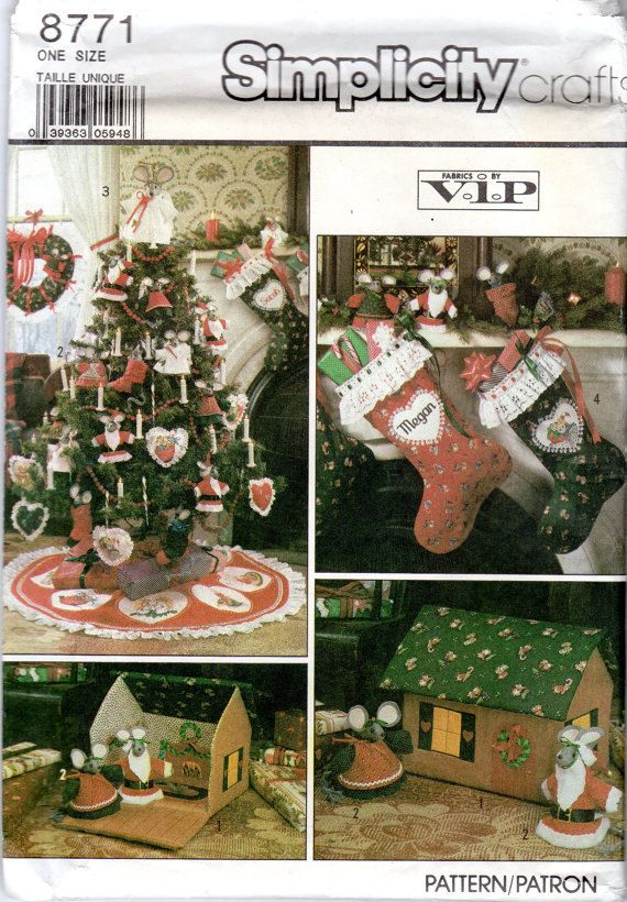 Simplicity Crafts Pattern 8771 Ornaments, Mouse House, Tree Topper ...