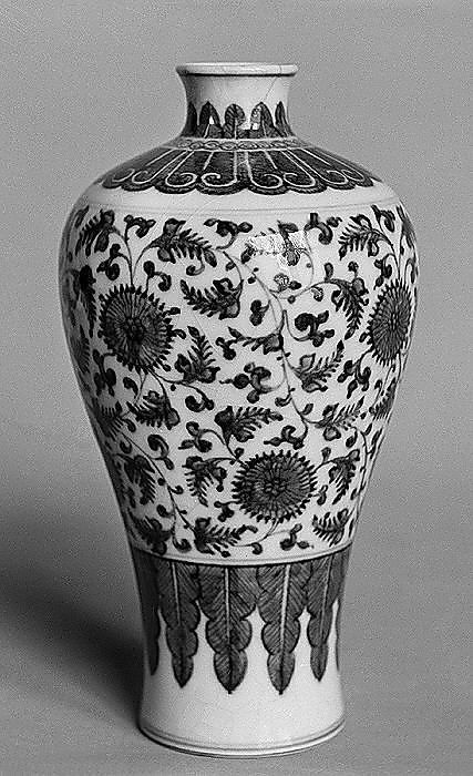 prunus vase; Qing dynasty, Kangxi period (1662–1722), China. porcelain, soft paste, and crackle. Metropolitan Museum of Art