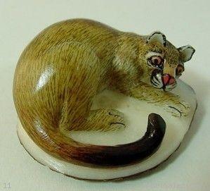 Wounaan Tribe Puma Cougar Mountain Lion Tagua Carving Panama 3 58408 | eBay