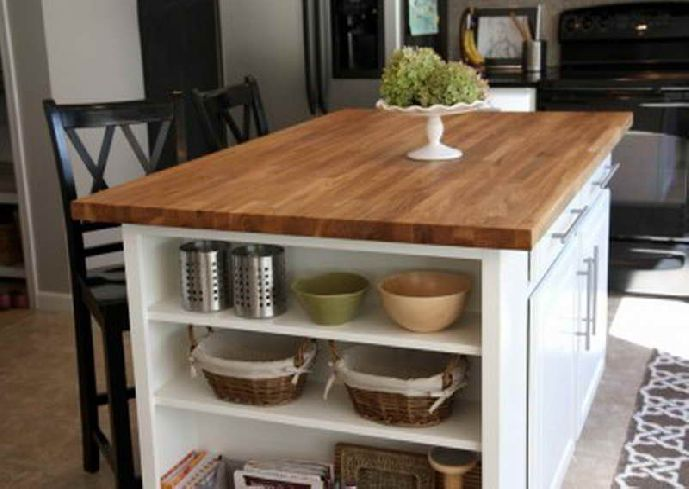 Simple And Nice Diy Kitchen Island Decorating Ideas With Wood Countertop And White Island