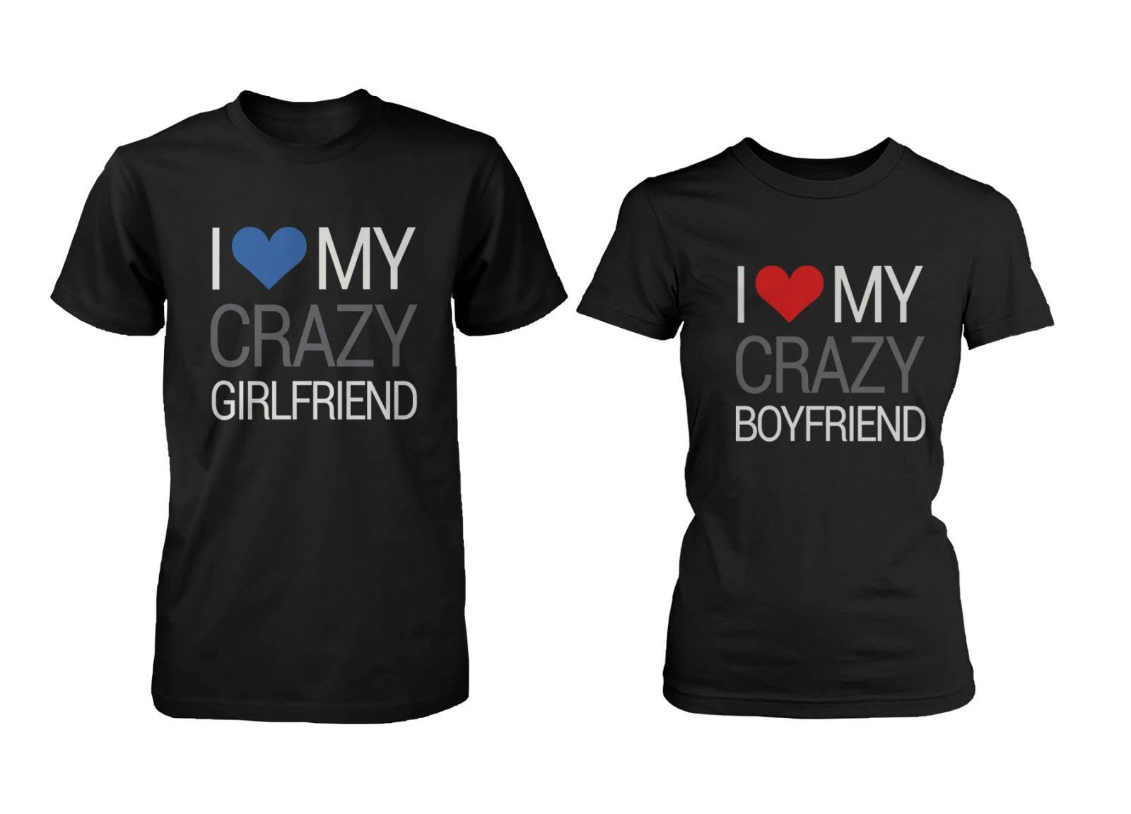 Couple t shirt design white - His And Hers Matching Couple T Shirts I Love My Crazy Boyfriend And Gi