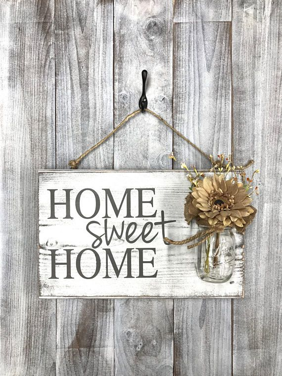 Home sweet home rustic front door sign decor, Mothers Day gift ...