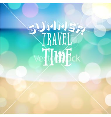 Summer travel time poster on tropical beach backgr vector by ildogesto on VectorStock®